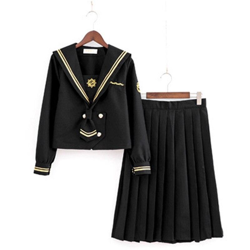 Girls Japanese School Sailor Uniform Long Short Sleeve Classic Navy Sailor School Uniforms High School Outfit Suit U013