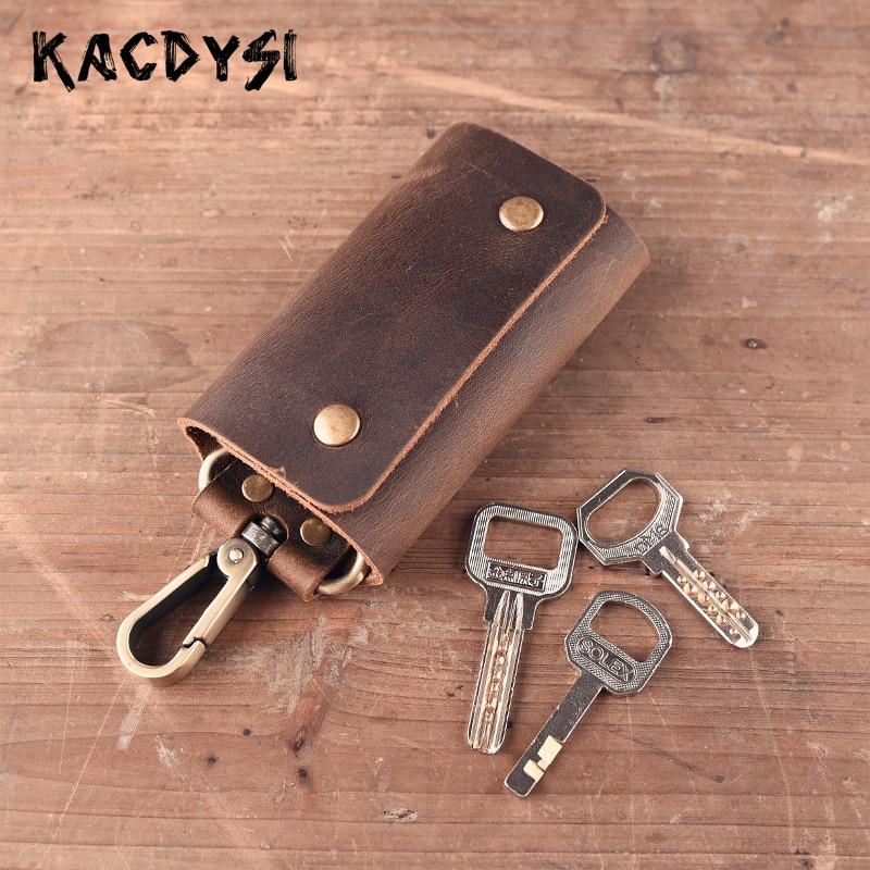 Real Crazy Horse Leather Retro Men Key Wallet Original Key Safe Hanger Key Chain