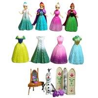 Disney 11 pçs/lote Congelado Princesa Anna Elsa Olaf Figuras Brinquedos Boneca Modelo Figura de Ação Conjunto com Magia Clipe Vestido Da Menina presente