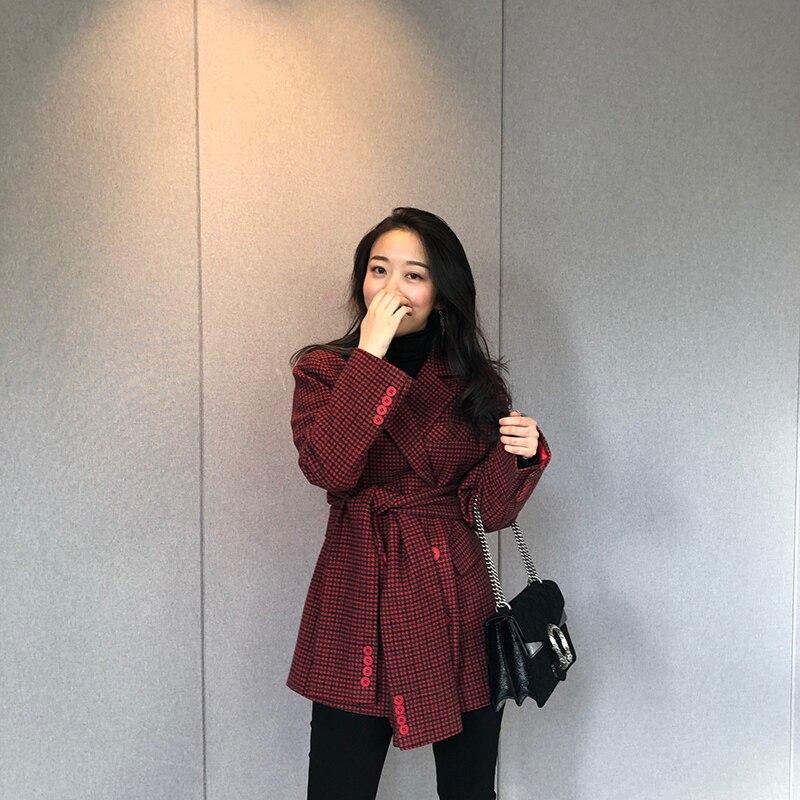 Europäische Marke Neue Designer 2019 Herbst frauen Vintage Plaid Blazer feminino Zweireiher Jacke - 3