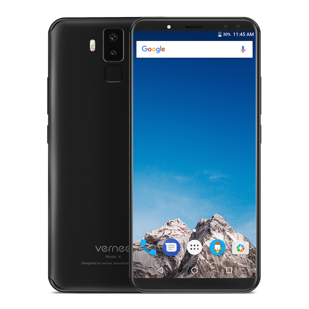Vernee X 4G Phablet Smartphone 5.99 Inch Android 7.1 MTK6763 2.0GHz Octa Core 6GB RAM 128GB ROM Dual Rear Front Cameras 6200mAh