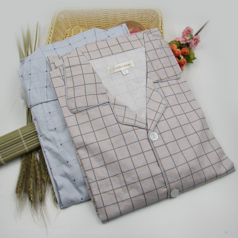Men's Thin Cotton Plaid Pajama Set Middle-aged Father's Lounge Clothing