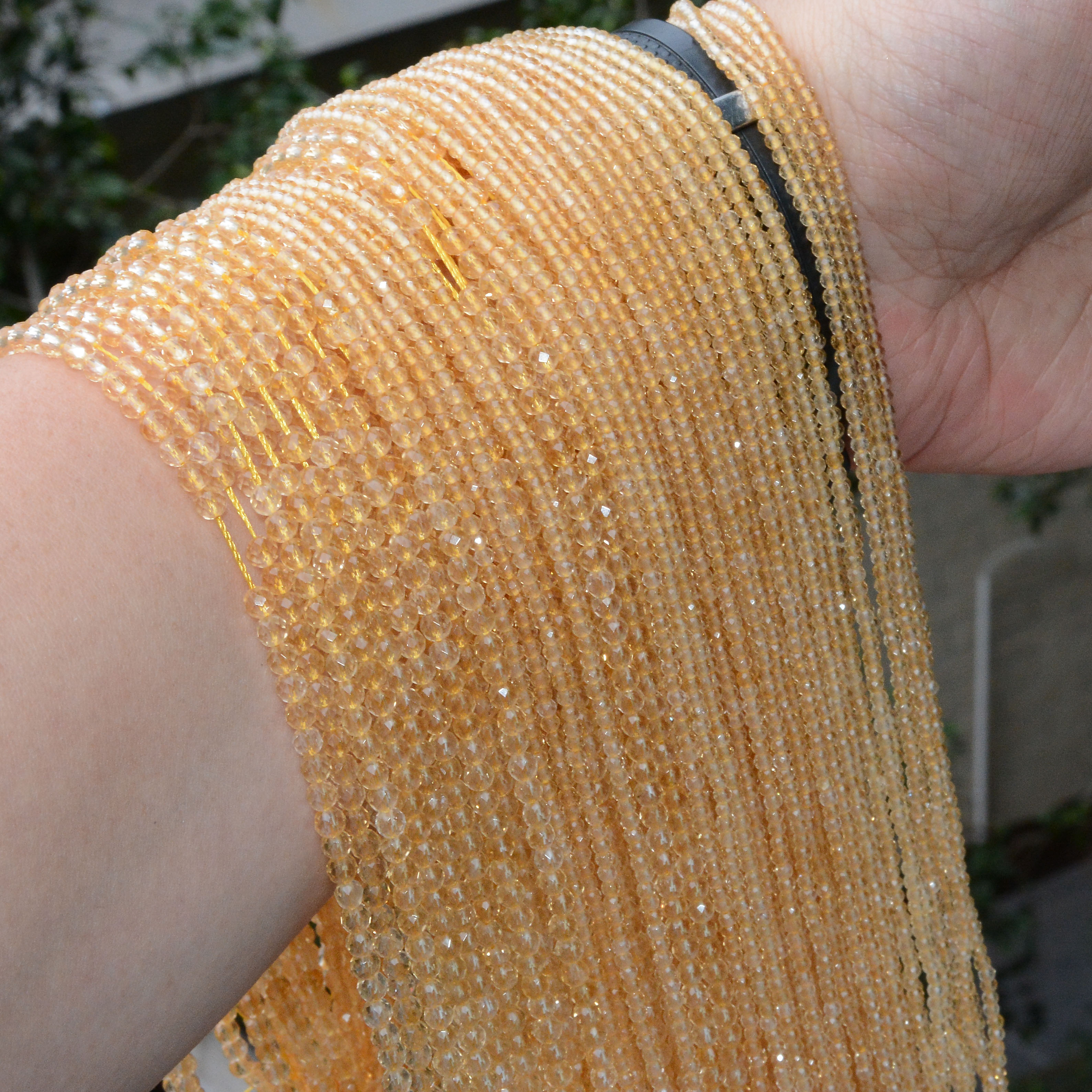 Natural Citrine Without Treatment Faceted Round Beads 2.2mm / 3.3mm