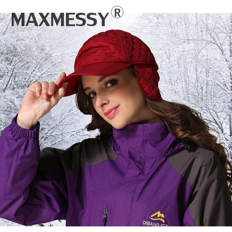 MAXMESSY New Men Winter Thicken Warmth Earflap Outdoor Sports   Baseball     Cap   Women Earmuff Protection Visor Bone Gorras Hats Y022