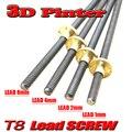 ¡El mejor precio! T8 tornillo Rod OD 8mm Paso 2mm plomo 2mm longitud 200mm-500mm roscado varillas con tuerca de latón para Reprap 3D impresora