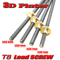 Best price ! T8 Lead Screw Rod OD 8mm Pitch 2mm Lead 2mm Length 200mm-500mm Threaded Rods with Brass Nut for Reprap 3D Printer