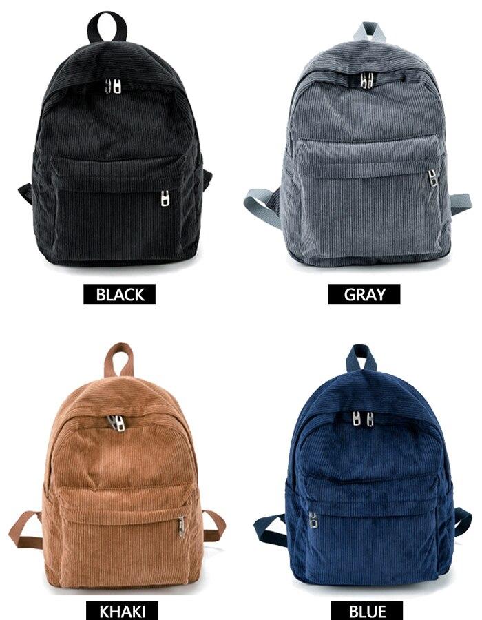 HTB1p2NKM9zqK1RjSZFHq6z3CpXaK 2019 New Corduroy Women Backpack Pure Color Women Travel Bag Fashion Double Backpack Female Mochila Bagpack Pack Design