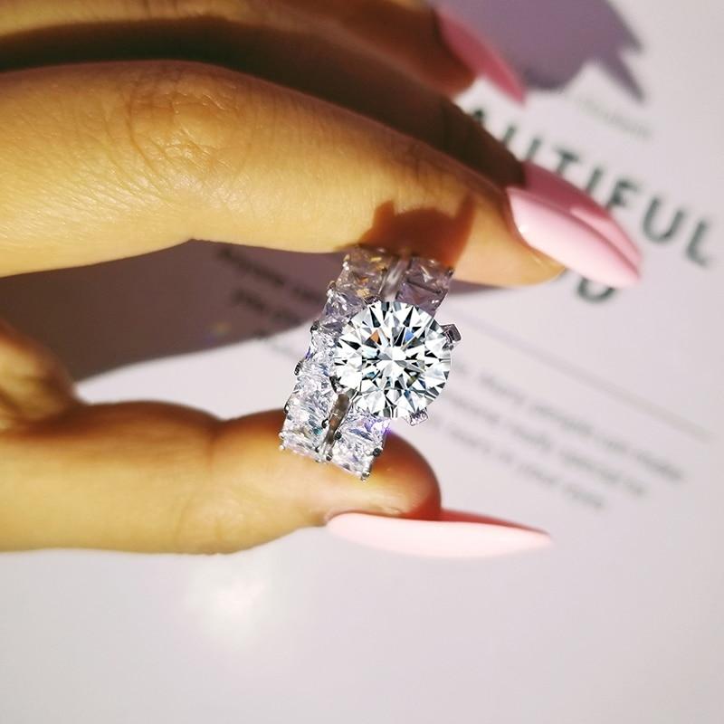 Luxe solide 925 en argent Sterling anneaux de mariage ensemble pour mariée 2 pièces femmes fiançailles anniversaire cadeau gros bijoux R4869S