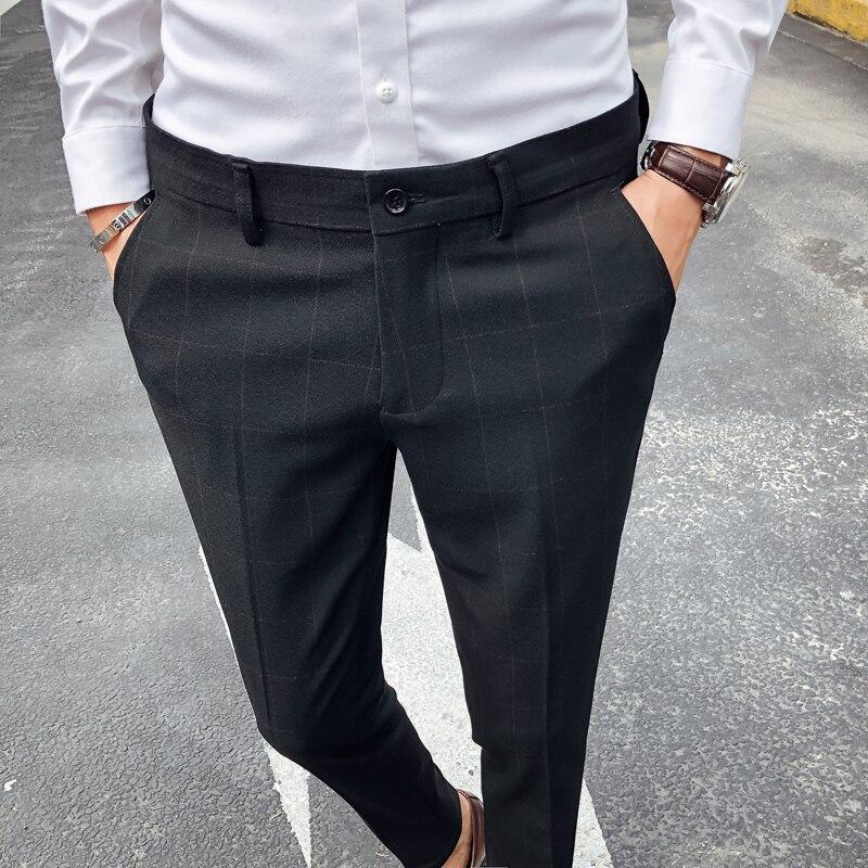 Mâle D'affaires Vêtements Couleur Décontractée Social Fit gray Robe Automne Hommes Nouvelle Slim Solide Mode Pantalon Black Treillis Costume Homme wxqZOagnx