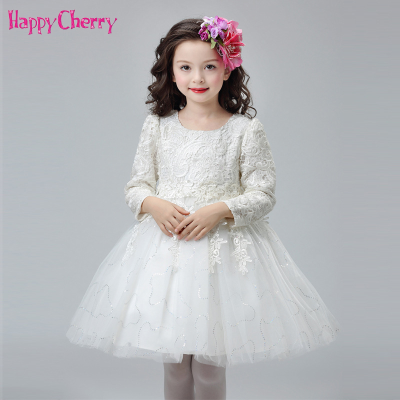 Winter Children Wedding Flower Girls Dress Princess Party Pageant Formal Dresses Bridesmaid Birthday Gown Lace Tulle Dress 5-14Y цены онлайн