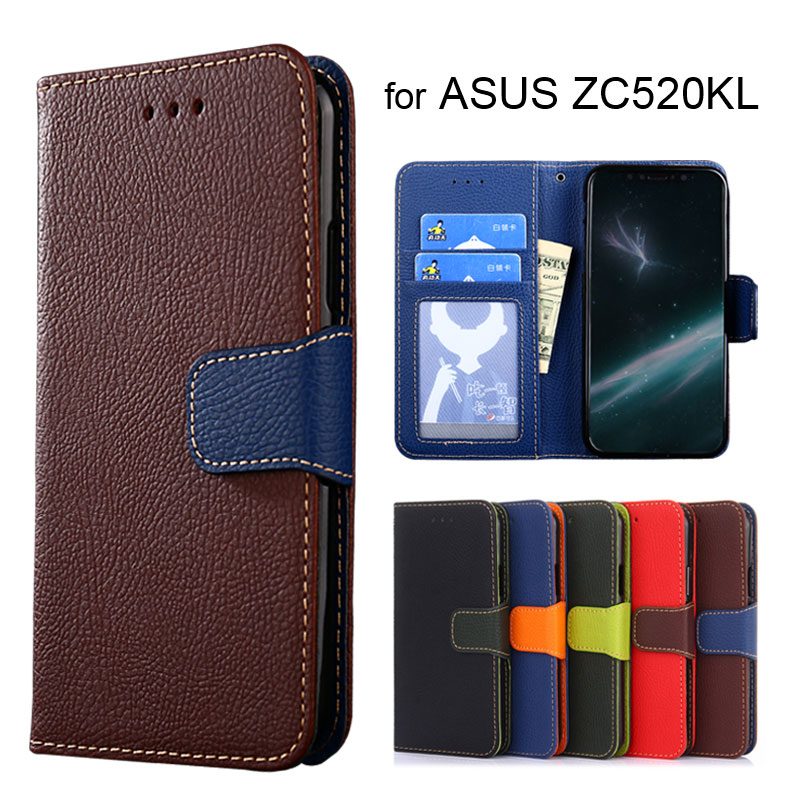 Wallet case for ASUS Zenfone 4 Max ZC520KL Litchi pattern PU leather with inside soft TPU cover coque Hit color Fashion style