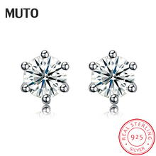 MUTO Basic 5mm Zirconia 925 Sterling Silver Stud earrings Protect the ears SVED4092 Certificate NO.: 10170519785