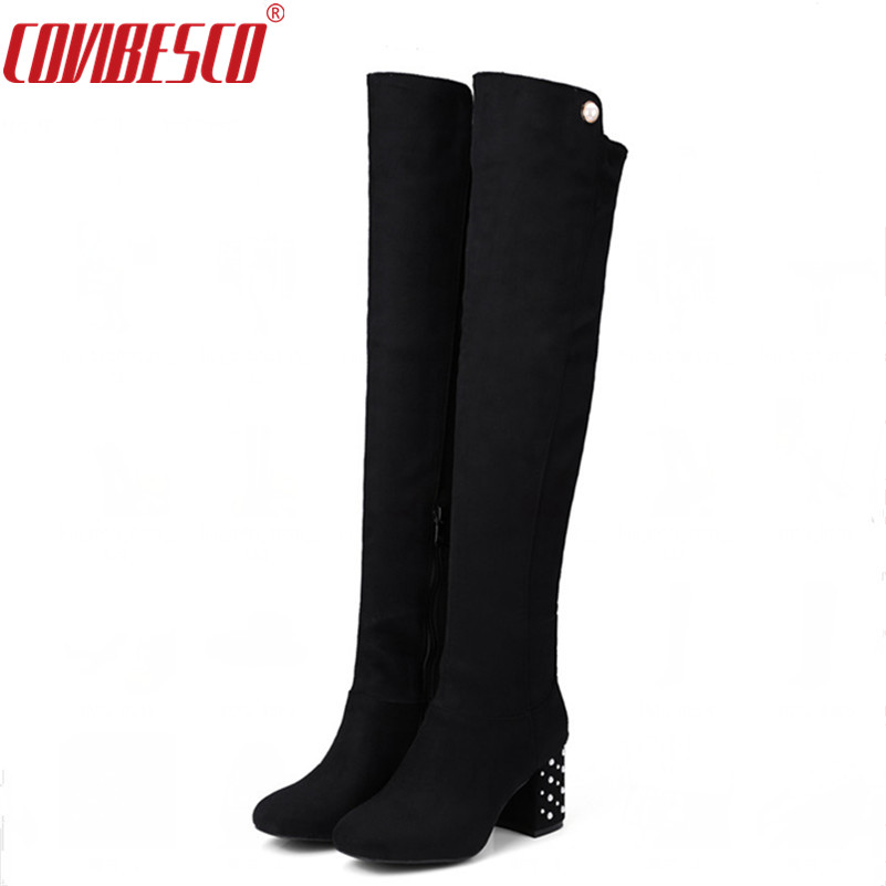 COVIBESCO Women Over The Knee Boots Square High Heel Boots Sexy Ladies Side Zipper Stretch Fabric Fashion Boots Black Size34-43 vallkin 2018 lace up women boots rhinestone square high heel over the knee boots stretch fabric wedding ladies boots size 34 43