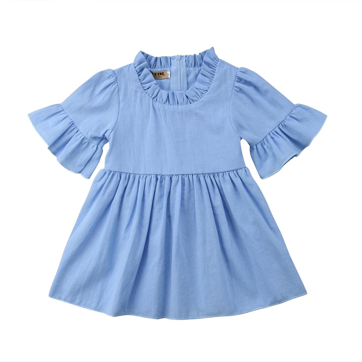 Одежда для малышей для девочек Летнее платье принцессы вечерние повседневные платья сарафан Одежда От 6 месяцев до 4 лет голубой/светло-фиол...
