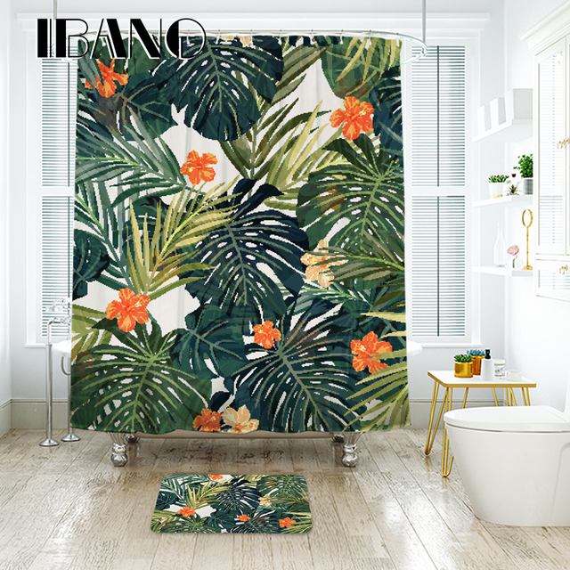 Tropical Plants Shower Curtain Waterproof Polyester Fabric For The Bathroom With 12 Pcs Plastic Hooks IBANO