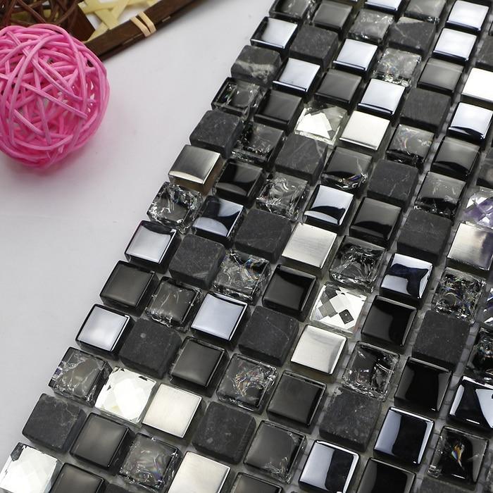hot smal quadratisch schwarz glas gemischt diamant und metall mosaik - Wohnkultur