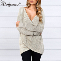 Colysmo Lady's Sweater Women Pullover Knitted V Neck Sexy Jumper Long Sleeves Oversized Sweater Criss Cross Knitwear Tops Shrugs