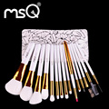 Msq chegada nova 15 pcs pincéis de maquiagem kit de viagem profissional de beleza cosméticos escovas de cabelo sintético macio com caso de couro do plutônio