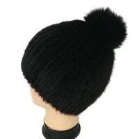 HSPL Women's Winter Fur Hats 2017 Real Mink Fur Black Beanie Ladies Knitted Russia Hat Winter Women Elegant Bone Luxury Cap