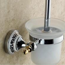 Бесплатная доставка продажи настенные туалет латунь золото, Ванная комната продукты строительство для очистки щетка для унитаза чистой щеткой EUR тип