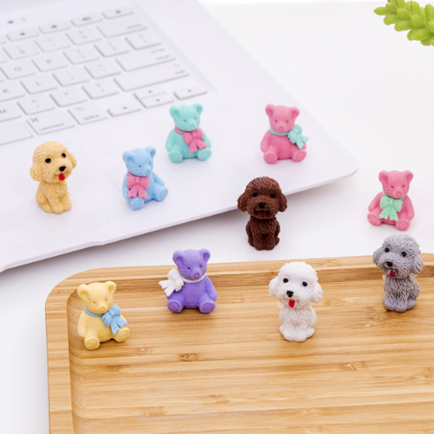 5pcs/lot New Dogs Rubber Eraser Funny Students' Gift Prize Kids's Puzzle Toy Office School Stationery Supplies