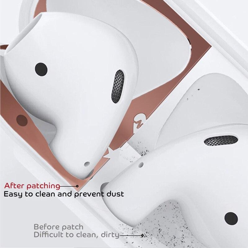 Image 3 - Protection contre la poussière en métal pour Apple AirPods Funda accessoires de boîtier protéger autocollant Protection de la peau pour AirPods 1 2 autocollant motif mignon-in Écouteurs from Electronique on AliExpress