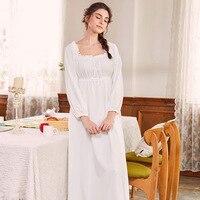 Night Dress 2018 Women Sleeping Dress Autumn Winter Vintage Royal Nightdress Pure Cotton Princess White Ruffle Nightgowns