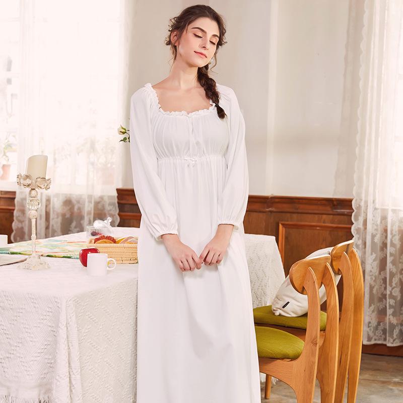 Night Dress 2019 Women Sleeping Dress Autumn Winter Vintage Royal Nightdress Pure Cotton Princess White Ruffle Nightgowns
