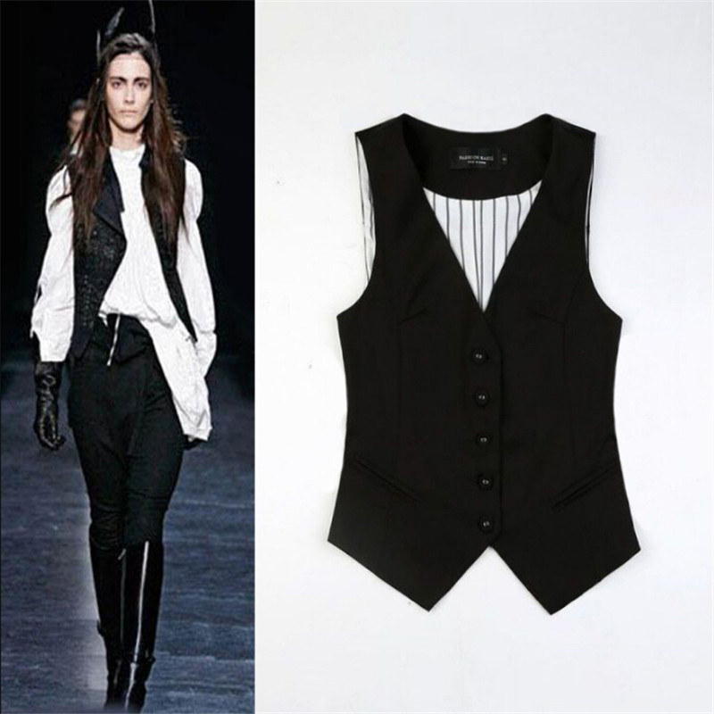 Veste Femme Women Vest Suits Sans Manches Cotton Autumn Waist Coat Spring Winter Formal Vests For Women W91167