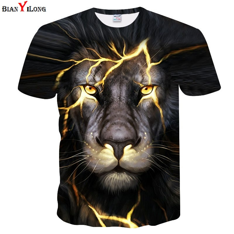Newest 3D Print Lightning lion Cool T-shirt Men/Women Short Sleeve Summer Tops Tees Fitness T shirt Fashion Plus Size M-4XL