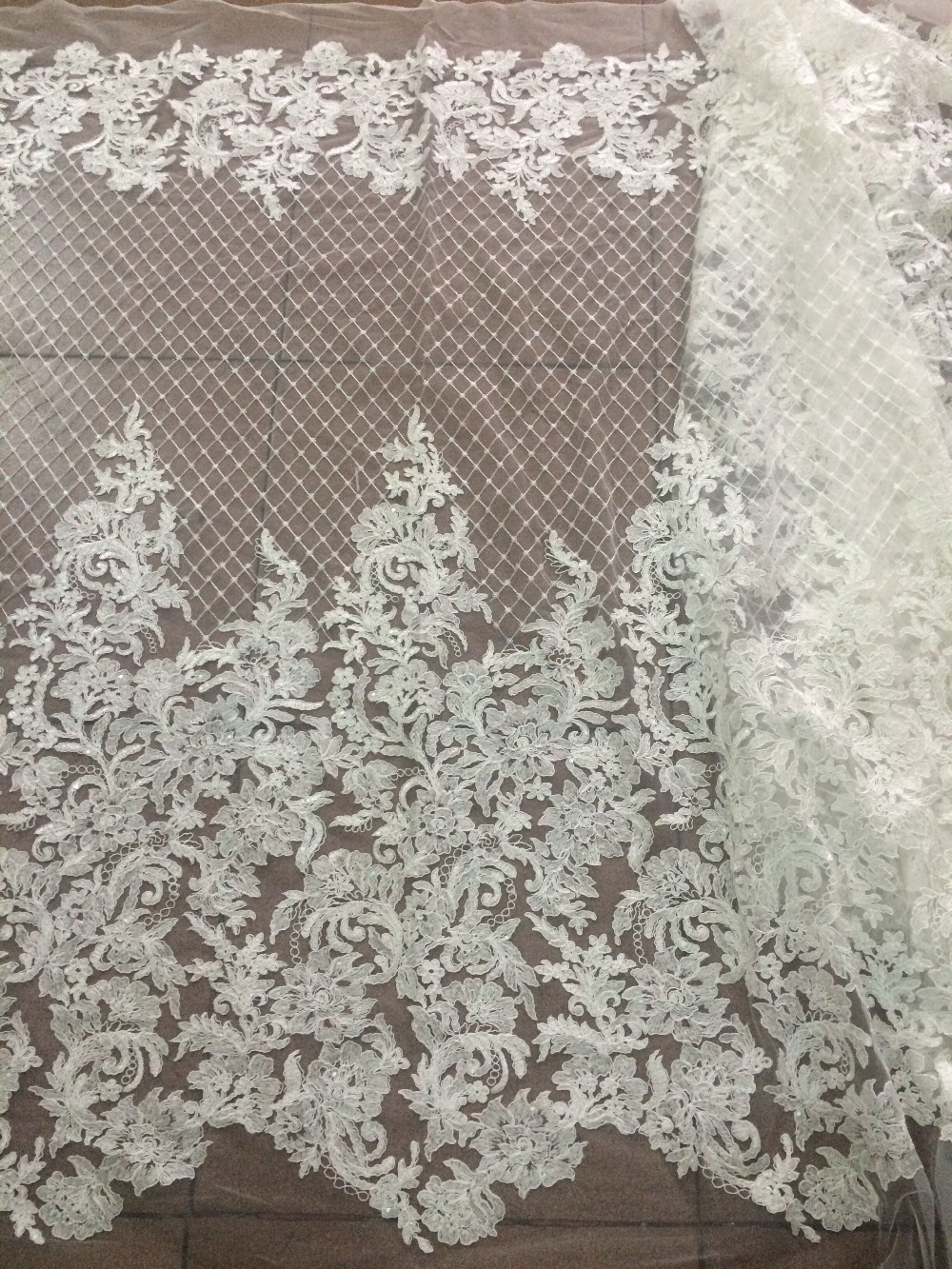 Fashion embroidered In Switzerland New Arrival LJY 6910 African Cord Net Lace Fabric with sequins for wedding-in Lace from Home & Garden    2
