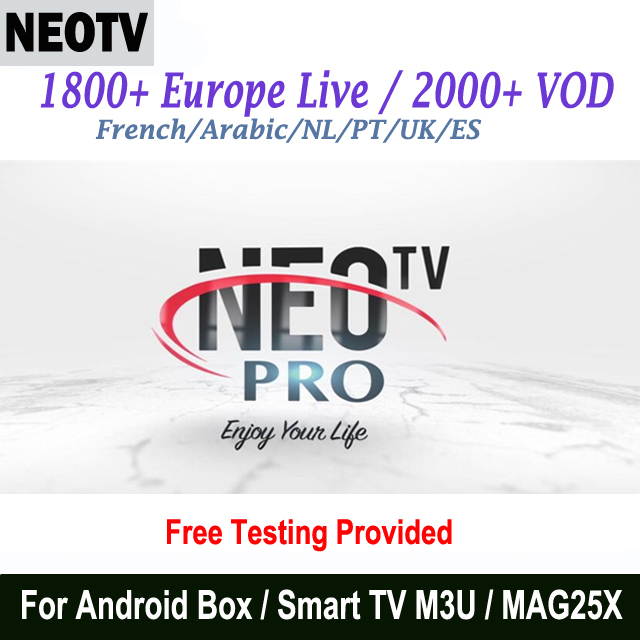 12 Month NEO IPTV French Arabic Netherlands African Channels NEOTV PRO H.265 HD European TV Subscription