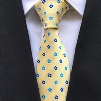 8 Cm Luxury Formal Tie Men Unique Designer Neck Ties Yellow With Blue Flowers