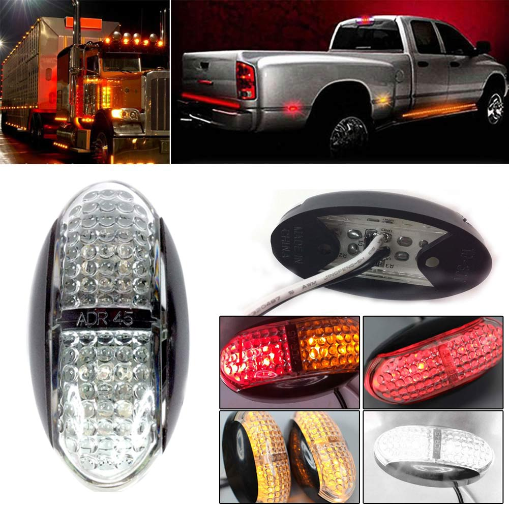 IP68 10pcs Side Marker Light Rear 4Led Car Truck Lorry Clearance Trailer Lamp Camper Amber/Red /Red And Amber /White