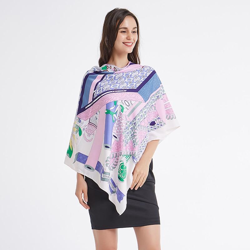 100% Silk Luxury Brand Floral Women Green Leaf Plant Printed Silk Square Scarf Female Fashion Hijab Shawl Neck Erchief Elegant In Smell Apparel Accessories pobing