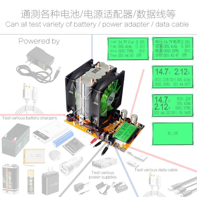 180 В в 20A 200 Вт регулируемый постоянный ток электронная нагрузка батарея разряда ёмкость метр тестер 12V24V48V свинцово-кислотная литиевая