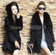 Fur coat women's fur jacket thick 2016 winter outerwear female overcoat dark black with hooded long design slim artificial fur