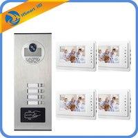 4 Đơn Vị Apartment Intercom Entry Hệ Thống Dây 7 '' Màn Hình Audio Video Chuông cửa Điện Thoại RFID Access Máy Ảnh đối với 4 Gia Đình Nhà