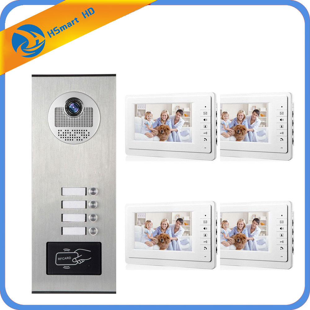 4 Units Apartment Intercom Entry System Wired 7'' Monitor Audio Video Door Phone Bell RFID Access Door Camera for 4 Family House 7 inch password id card video door phone home access control system wired video intercome door bell
