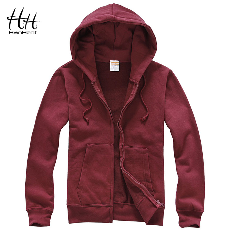HanHent fashion solid color  casual hoodies men thick autumn winter cardigan streetwear fitness jacket men's fleece sweatshirts