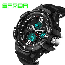 SANDA Brand Mens Sports Watch Digital Watches Men Clock LED Waterproof Dual Display Military Wrist Watches Relogio Masculino