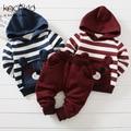 New Autumn Winter Cute Stripe Cat  Fleece Cotton Infant Baby Boys Girls Clothes Hooded Coat PP Harem Pants Trousers Clothing Set