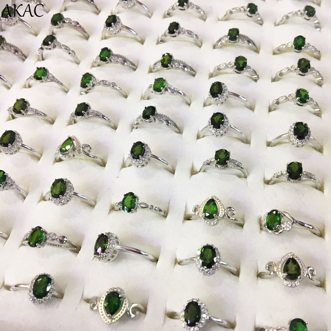 AKAC Natural Green Diopside Women Adjustable Ring Approx3-4*5-6mm 1ring/set Wholesale