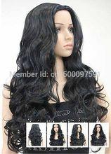 TJ&FY****** 2015 Dark Black WOMENS FULL WIG no bangs Sexy Long Wavy Hot Sale Wig