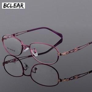 Image 1 - BCLEAR موضة خمر النساء العين إطارات النظارات نظارات سيدة المعادن واضح عدسة النظارات البصرية إطار الإناث الرجعية الكلاسيكية
