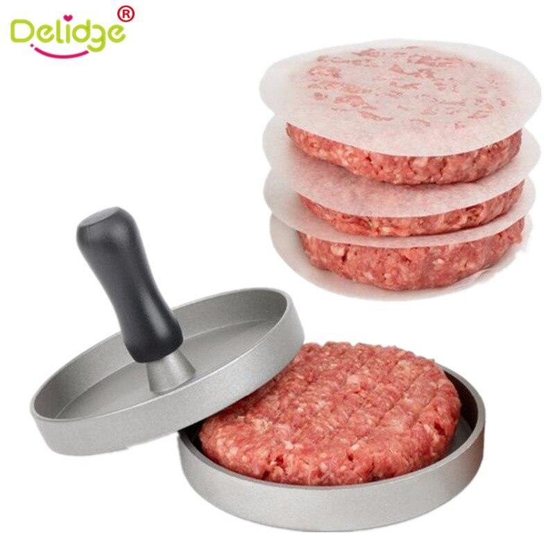 Delidge 1 Satz Runde Form Hamburger Presse Aluminiumlegierung 11 cm Hamburger Meat Rindfleisch Grill Burger Presse Patty Maker Form