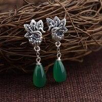Vintage Phoenix Earring 925 Sterling Silver Women Popular Chalcedony S925 Thai Silver Boucle D Oreille Animal