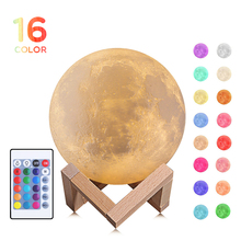 New Rechargeable 3D Print Moon Lamp 16 Color Change Touch+Slap Switch Bedroom Bookcase Night Light Home Decor Creative Gift lumiparty rechargeable 3d print moon lamp 3 color change touch switch bedroom bookcase night light home decor creative gift