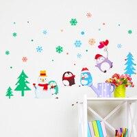 Consegna veloce Di Natale wall stickers adesivi decorazione della parete della stanza bambini dell'asilo piccolo simpatico cartone animato Pinguino pupazzo di neve