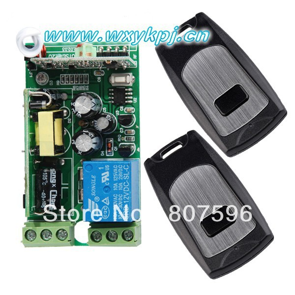RF 2 channel 315MHz/433MHz 85V~250V wireless remote control relay switch, 2 radio transmitter and 1 receiver controller system